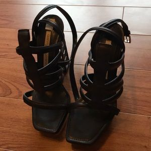Gianmarco Lorenzi Black and Gold Cage Heels 37